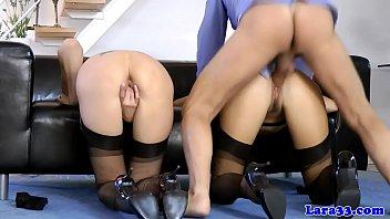 Stockinged milf doggystyled in british trio