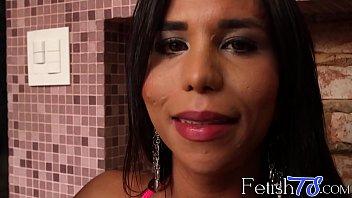 smoking trans stunner flashing off her massive jummy tits