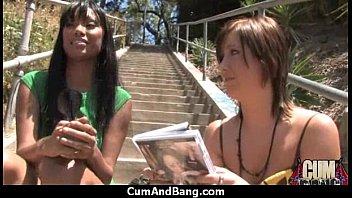Amateur ebony interracial group sex with facial shots 15