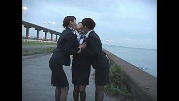 trio japanese girl-on-girl airline stewardess chicks.