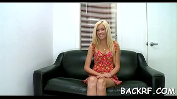 She stuffs bawdy cleft and mouth with dick of he perverted interviewer