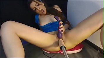 ebony-haired stunner plumbed by machine and faux-cock on.