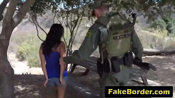 faux border agent arrests supah-poking-hot dark haired latina.