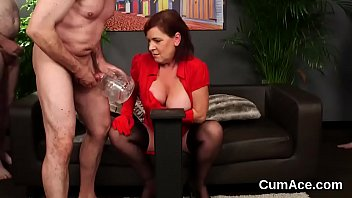 Peculiar hottie gets cumshot on her face swallowing all the jism
