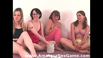 Lesbian play for amateur girls in party game