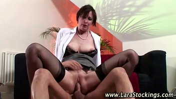 Guy gets a blowjob from european babe in stockings