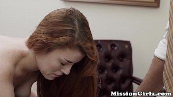 Hesitant Mormon teen loosens up and starts rubbing her twat