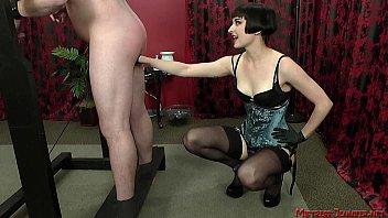 Mistress Vera femdom fun with slave on rack
