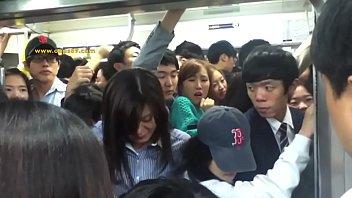 crowd people pressing at metro