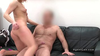 Blonde bangs doggy style in casting