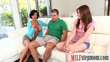 Big tits stepmom and teen shared a cock
