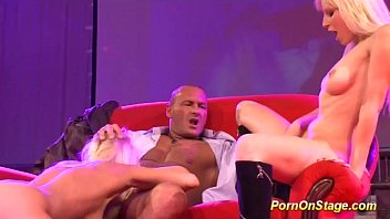threesome fuck orgy on porn stage