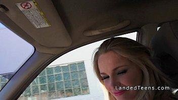 Sexy blonde teen hitchhiker sucks cock