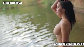 sumptuous japanese displaying her ultra-cutie in the water.