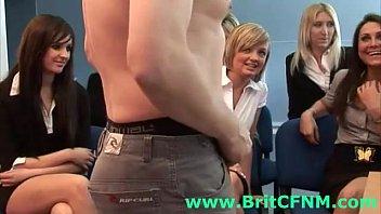brit guy unwraps for group of euro cfnm ladies