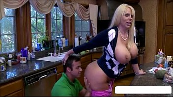 buxom cougar has 3 way with.