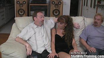 Short Brunette Slut Wife Group Fucks Husbands Friends