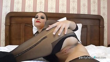 pretty stunner in tights is tugging