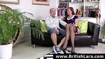 Mature British lady in stockings in threesome sex adventure