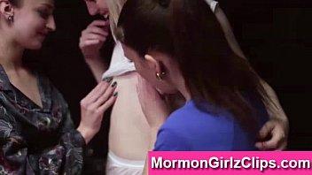 girl-on-girl threeway for mormon damsels in.