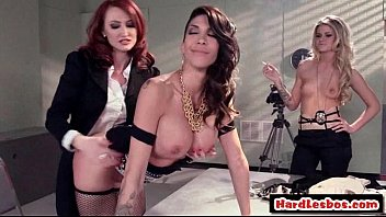 Sexy busty hot lesbians get fucked their sweet pussies by big dildo 28