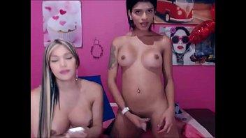 2 wild t-girls screwing around on.