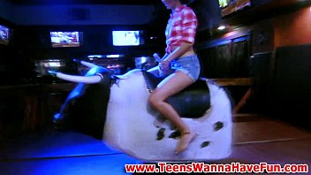 Teen cowgirls suck cock at party