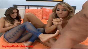 2 warm femmes give feetjob and get plumbed.