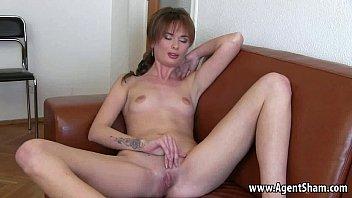 Redhead masturbates and sucks on her agents cock