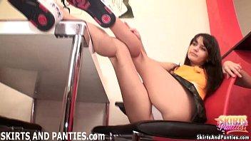 Lara flashing her cute pink panties