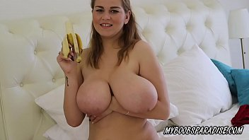 Busty Erin Star playing with Banana Boobs and masturbate