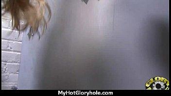 Ebony slut swallows cum sucking cardboard box gloryhole dick 2