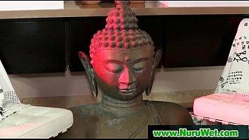 wonderful chinese masseuse perform nuru rubdown with blessed.