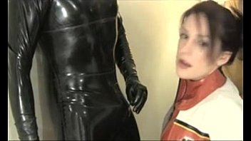 deep facehole in spandex catsuit and jizz in throat