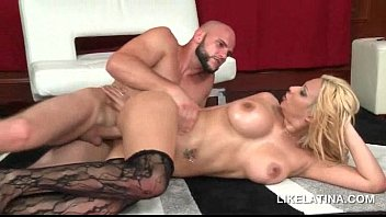 Blonde Latina pounded hardcore in her slick shaved pussy