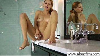 Alone Sexy Horny Girl Masturbating Tender vid-27