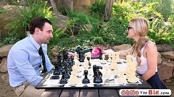 Blonde hot babe Kali Rose slurps a hard cock outdoor