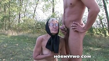 Horny granny fucked outdoors badly in her hairy cunt till facial on granny face