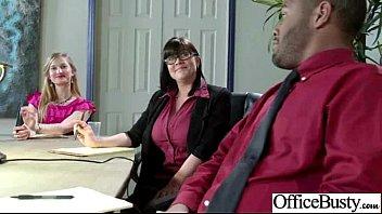 ample breast boobs employee female plumbs in office pinch-30
