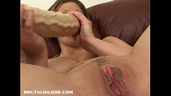 unexperienced dark haired packs her vagina with a.