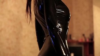 A latex girl black latex thigh high pac boots