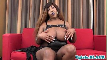 plump dark-hued transgender princess stroking solo