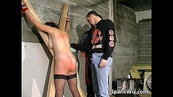 Horny tied brunette gets butt spanked