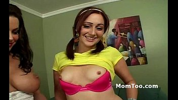 immense-boobed brown-haired mommy and youthfull daughter-in-law unclothe and.