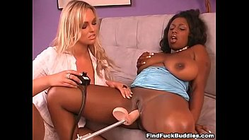 two buxom lezzies get romped by mechanical faux.