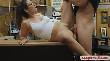 crimson-hot gal with glasses gets fucked.