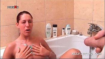 ponytailed mega-slut gets face pee shooted.