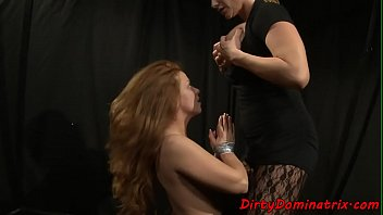 Restrained sub dildoed by busty lezdom