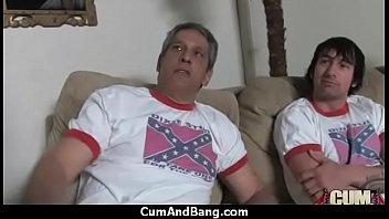 Black ho sucks on white dicks in a group blowjob 3