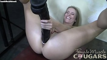 Muscular Mature Blonde Huge Dildo Won'_t Fit